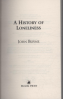 HISTORY OF LONELINESS, A